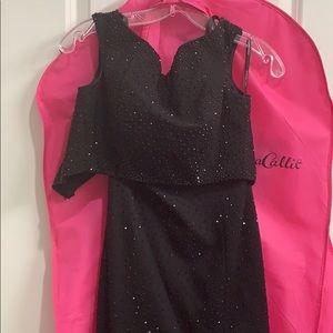 SHERRI HILL TWO PIECE PROM DRESS, black size 0